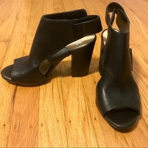 GB black open-toed chunky heels